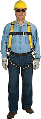 Workman® D-Ring Back Qwik-Fit™ Leg Buckles Yellow Polyester Safety Harness, Standard