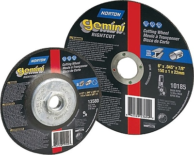 Gemini® Alumina Type 01 Flat Cut-Off Wheel, 4 1/2 in (OD), 0.045 in (T), 7/8 in Arbor