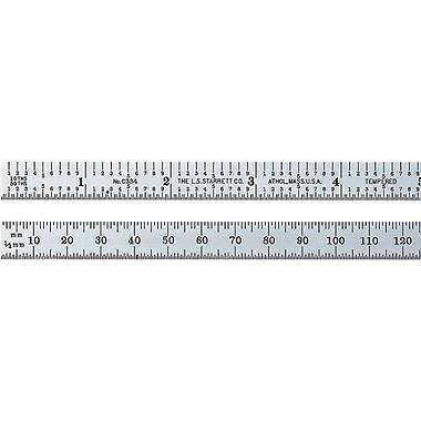 L.S. Starrett® Satin Chrome Plated Spring-Tempered Steel Steel Rule, 6 in (L), 3/4 in (W)