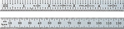 L.S. Starrett® Satin Chrome Plated Spring-Tempered Steel Steel Rule, 6 in (L), 3/4 in (W)