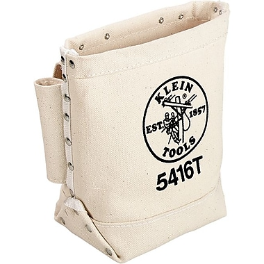 Klein Tools® Canvas Bull Pin And Bolt Rectangular Loop Tool Bag, 3 Compartments, 10 in (H)