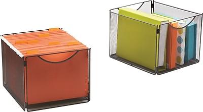 Safco Mesh Cube Storage Bin, Onyx, 2/pk