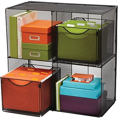 Safco® Oynx Mesh Cube Storage Organizer, 4 Compartments