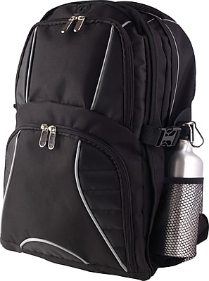 Black Backpack with Aluminum Water Bottle
