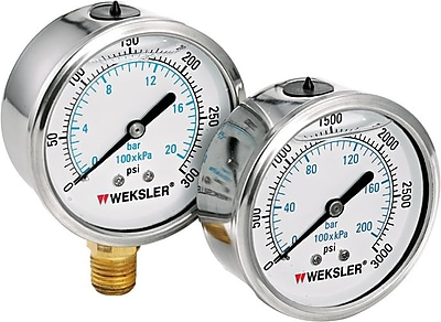 Weksler Stainless Steel Liquid Filled Gauge, 0 - 5000 psi, 2 1/2 in Dial, 1/4 in NPT BM 773471