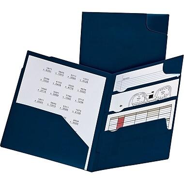 Oxford® Divide It Up® 4-Pocket Folders, Letter Size, Blue, 5/Pack