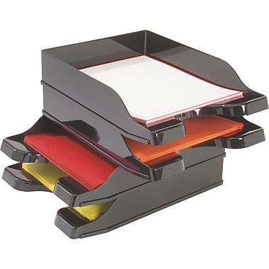 Deflecto® - Plateaux empilables DocuTray, noirs, paq./2