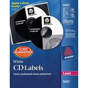 Avery 5692 Permanent Laser CD/DVD Labels, 40 Disk/80 Spine Labels, White
