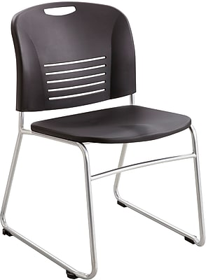"""""Safco Vy Sled Base Stacking Chair, Plastic, Black, Seat: 18 1/2""""""""W x 17""""""""D, Back: 19 1/4""""""""W x 15 3/4""""""""H, 2/CT"""""" 895702"