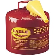 """Eagle Galvanized Steel Type I Safety Can With Funnel, UL/ULC, Red, 12.25""""(Dia.) x 13.5""""(H), 5 gal., 1 Each"""
