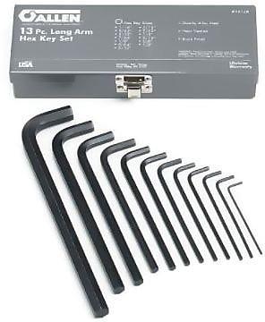 Allen® Tools 13 Pieces Long Arm Hex Key Set, Alloy Steel, 1/16 - 1/2