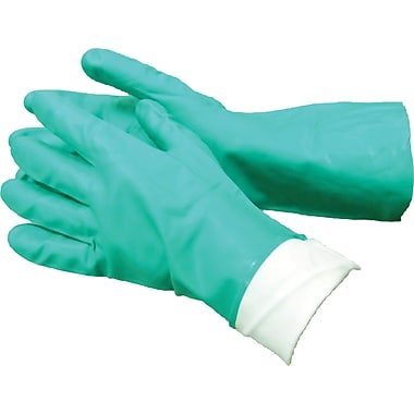Ambitex Flocklined Work Gloves, Nitrile, Green, 12 Pairs