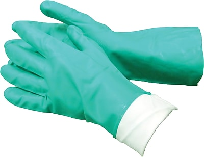 Ambitex Flocklined Work Gloves, Nitrile, Extra Large, Green, 12 Pairs/Box