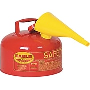 Eagle Type I Galvanized Steel Red Safety Can With Funnel, 11.25 in (OD) x 9.5 in (H), 2 Gallon