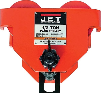 Jet® Tools Manually Dragged PT Series Plain Trolley, 7.6 in (H) x 5.1 in (W) x 13.9 in (L), 1 Ton