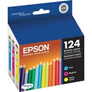 Epson® 124 (T124520-S) High Capacity Cyan, Magenta & Yellow Ink Cartridges, 3/Pack
