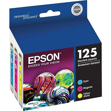 Epson® – Cartouches d'encre 125 (T125520-S) cyan/magenta/jaune, paq./3