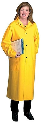Anchor Brand® Raincoat, Yellow, PVC/Polyester, 48 in (L) x 0.3500 mm (T), Detachable Hood, 4X-Large