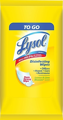 Lysol® To Go Disinfecting Wipes, Lemon and Lime Blossom Scent, 9 Wipes/Pack