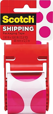 Scotch® Decorative Shipping Packing Tape, Pink Polka Dots, 1.88
