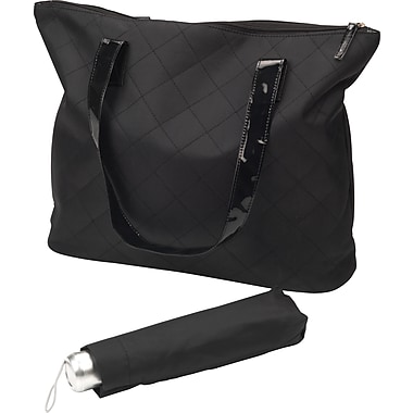 Black Quilted Tote with Umbrella