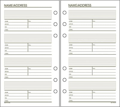 Day Runner® Recycled Telephone/Address Pages, 3-3/4