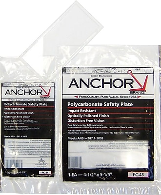 Anchor Brand® Clear Polycarbonate Cover Lens, 2 in (W), 4 1/4 in (L)