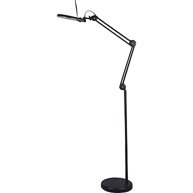 Tensor 22 Watt T5 Circleline Magnifier Swing Arm Floor Lamp, Black, 63