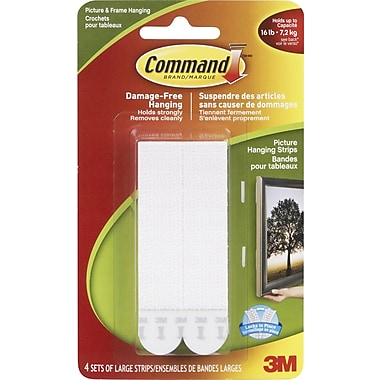 Command™ Picture Hanging Strips, Large, 4/Pack
