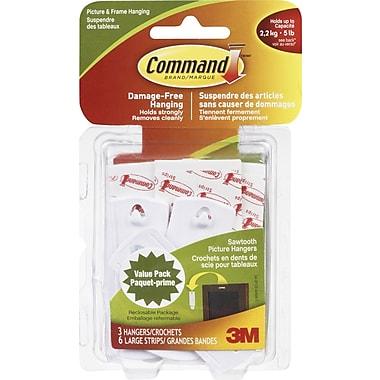 Command™ – Crochets en dents de scie pour tableaux, paq./3, capacité de 5 lb