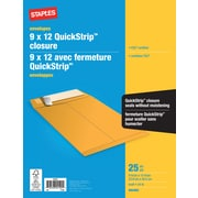 "Staples® Envelopes Kraft Catalogue, 9"" x 12"", 25/Box - QuickStrip"