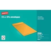 "Staples® Envelopes Kraft Catalogue 5-7/8"" x 9-5/8"", 250/Box - Gummed"
