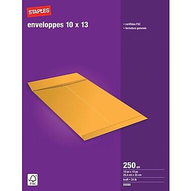 Staples® - Enveloppes Kraft pour catalogues, 10 po x 13 po, bte/250, avec colle