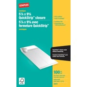 "Staples® Envelopes White Catalogue 5-7/8"" x 9-5/8"", 100/Box - QuickStrip"