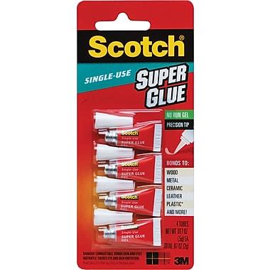 Scotch Single-Use Super Glue No-Run Gel, .017 oz each, 4 Pack