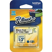 """Brother M131 Label Maker Tape, 0.47""""W, Black On Clear"""