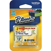 """Brother M2312PK Label Maker Tapes, 0.47""""W, Black On White, 2/Pack"""