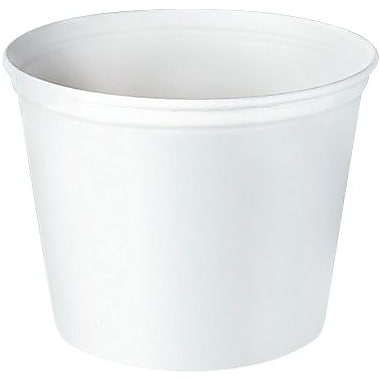 Solo® 165 Oz., Unwaxed Double Wrapped Paper Bucket White, 100/Pk