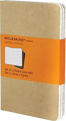 Moleskine Cahier Journal, Set of 3, Pocket, Ruled, Kraft Brown, Soft Cover, 3-1/2
