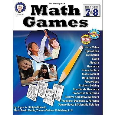 Carson-Dellosa Mark Twain Math Games Resource Book, Grade 7-8. (404153)