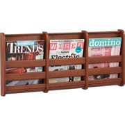 "Safco Bamboo Magazine Wall Rack, 3 Pocket, Cherry, 13 1/4""H x 29""W x 1 3/4""D"