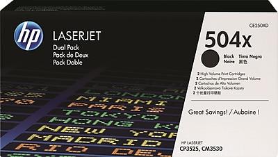 HP 504X Black Toner Cartridges (CE250XD), High Yield, Twin Pack