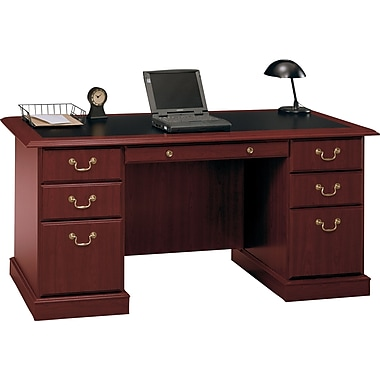 Bush® Saratoga Collection Managers Desk, Harvest Cherry