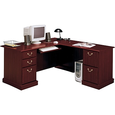 Bush® Saratoga Collection L-Shaped Desk, Harvest Cherry