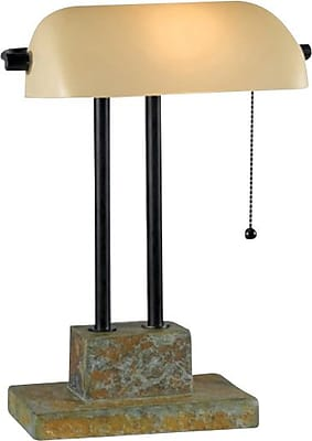 Kenroy Home Greenville Banker Lamp, Natural Slate with Oil Rubbed Bronze Finish