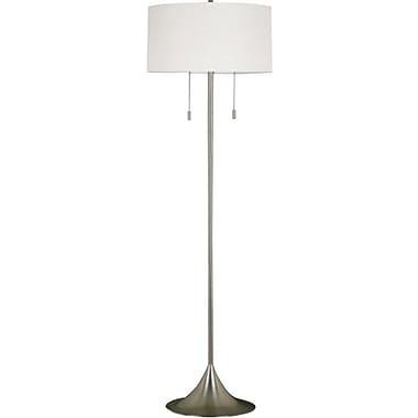 Kenroy Stowe Incandescent Floor Lamp, Brushed Steel Finish