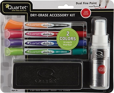 Quartet® 2-in-1 DryErase Marker Kit, Chisel/Fine, Assorted, 4/Pack