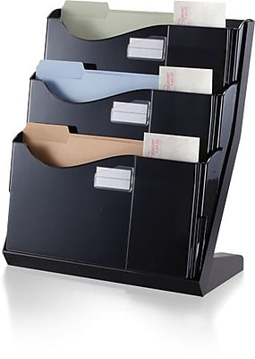 Officemate® Grande Central Desktop File Sorter, 3 Compartments, Black, 18 1/4