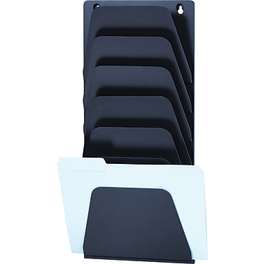 OIC Plastic Wall File, Letter, Black, 7-Pocket, 22 3/8