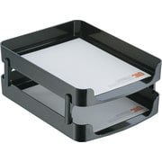 OIC® 2200 Series Black Plastic Front-Load Stacking Letter Trays w/Supports